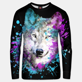 Thumbnail image of Wolf Watercolor Splash Animal Wildlife Artsy Unisex sweater, Live Heroes