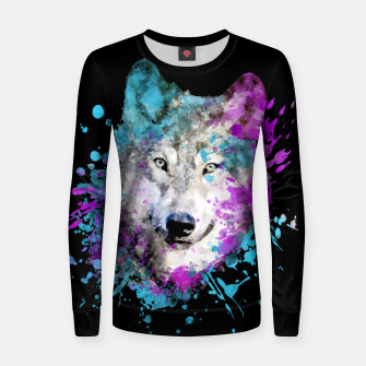 Thumbnail image of Wolf Watercolor Splash Animal Wildlife Artsy Women sweater, Live Heroes