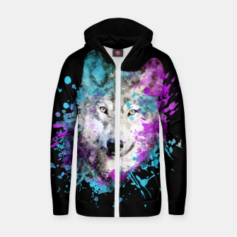 Thumbnail image of Wolf Watercolor Splash Animal Wildlife Artsy Zip up hoodie, Live Heroes