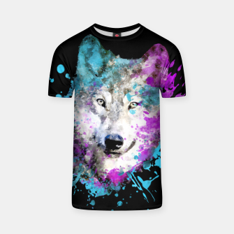 Miniature de image de Wolf Watercolor Splash Animal Wildlife Artsy T-shirt, Live Heroes