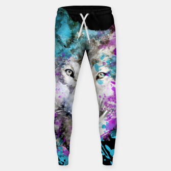 Thumbnail image of Wolf Watercolor Splash Animal Wildlife Artsy Sweatpants, Live Heroes