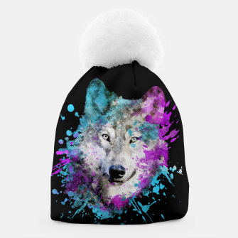 Thumbnail image of Wolf Watercolor Splash Animal Wildlife Artsy Beanie, Live Heroes