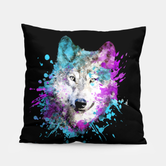 Thumbnail image of Wolf Watercolor Splash Animal Wildlife Artsy Pillow, Live Heroes