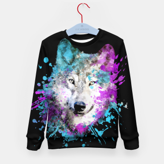 Thumbnail image of Wolf Watercolor Splash Animal Wildlife Artsy Kid's sweater, Live Heroes