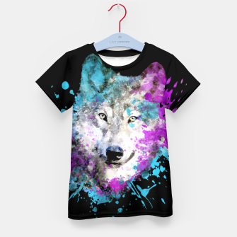 Thumbnail image of Wolf Watercolor Splash Animal Wildlife Artsy Kid's t-shirt, Live Heroes