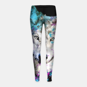 Miniature de image de Wolf Watercolor Splash Animal Wildlife Artsy Girl's leggings, Live Heroes