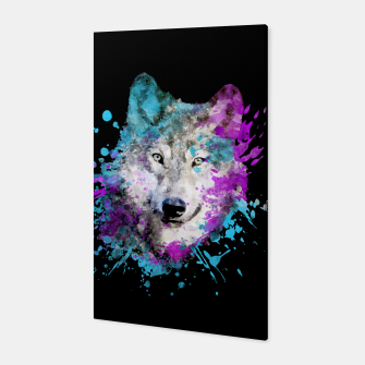 Thumbnail image of Wolf Watercolor Splash Animal Wildlife Artsy Canvas, Live Heroes