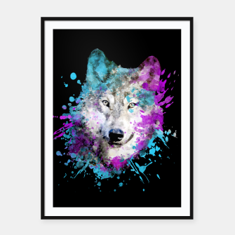 Thumbnail image of Wolf Watercolor Splash Animal Wildlife Artsy Framed poster, Live Heroes