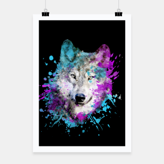 Thumbnail image of Wolf Watercolor Splash Animal Wildlife Artsy Poster, Live Heroes