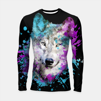 Thumbnail image of Wolf Watercolor Splash Animal Wildlife Artsy Longsleeve rashguard , Live Heroes