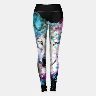 Thumbnail image of Wolf Watercolor Splash Animal Wildlife Artsy Leggings, Live Heroes