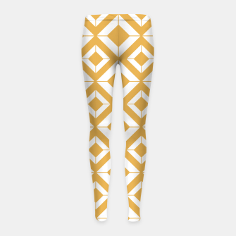 Miniaturka Abstract geometric pattern - bronze and white. Girl's leggings, Live Heroes