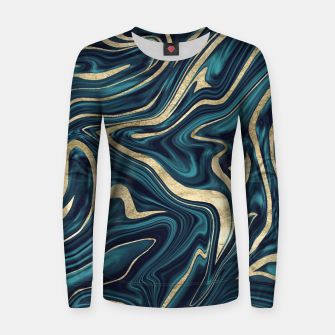 Thumbnail image of Teal Navy Blue Gold Marble #1 #decor #art  Frauen sweatshirt, Live Heroes