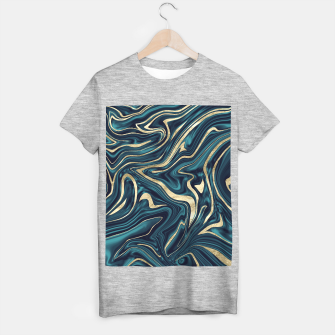 Miniature de image de Teal Navy Blue Gold Marble #1 #decor #art  T-Shirt regulär, Live Heroes