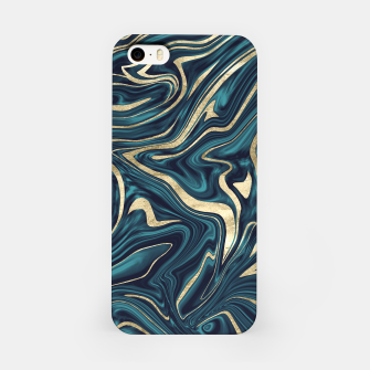 Miniature de image de Teal Navy Blue Gold Marble #1 #decor #art  iPhone-Hülle, Live Heroes
