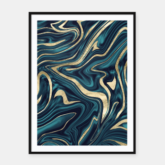 Thumbnail image of Teal Navy Blue Gold Marble #1 #decor #art  Plakat mit rahmen, Live Heroes