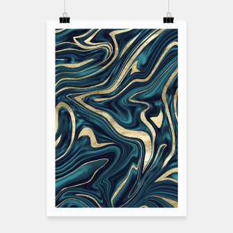 Miniature de image de Teal Navy Blue Gold Marble #1 #decor #art  Plakat, Live Heroes