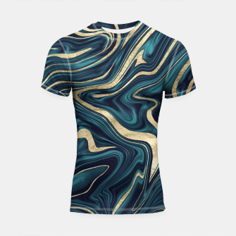 Miniature de image de Teal Navy Blue Gold Marble #1 #decor #art  Shortsleeve rashguard, Live Heroes