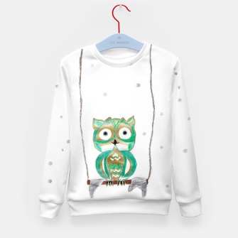 Miniature de image de Owl Fun #1 #mint #green #gold #drawing #decor #art Kindersweatshirt, Live Heroes