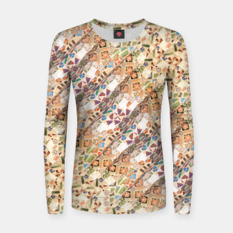 Miniatur Colorful Mosaic Collage Print Pattern Women sweater, Live Heroes