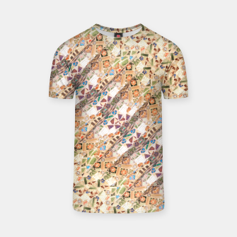 Miniatur Colorful Mosaic Collage Print Pattern T-shirt, Live Heroes
