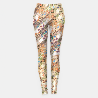 Thumbnail image of Colorful Mosaic Collage Print Pattern Leggings, Live Heroes