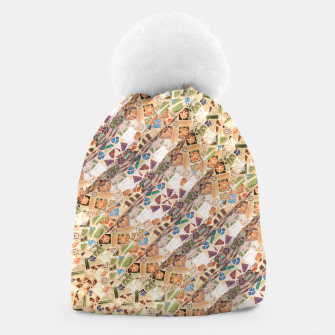 Miniatur Colorful Mosaic Collage Print Pattern Beanie, Live Heroes