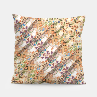 Miniatur Colorful Mosaic Collage Print Pattern Pillow, Live Heroes