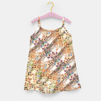 Miniatur Colorful Mosaic Collage Print Pattern Girl's dress, Live Heroes