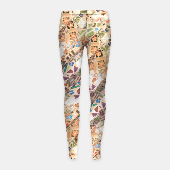 Thumbnail image of Colorful Mosaic Collage Print Pattern Girl's leggings, Live Heroes