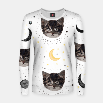 Thumbnail image of Cute cats and space pattern Women sweater, Live Heroes