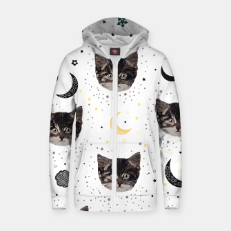 Thumbnail image of Cute cats and space pattern Zip up hoodie, Live Heroes