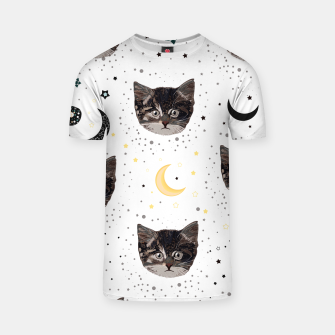 Thumbnail image of Cute cats and space pattern T-shirt, Live Heroes