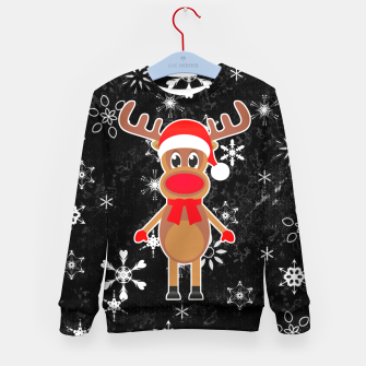 Miniaturka Rudy the Christmas Reindeer Black Kid's sweater, Live Heroes