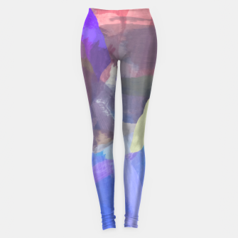 Thumbnail image of brush painting texture abstract background in purple blue brown Leggings, Live Heroes