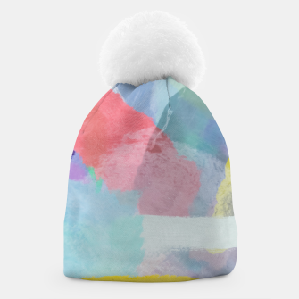 Thumbnail image of brush painting texture abstract background in pink blue yellow Beanie, Live Heroes