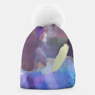 Thumbnail image of brush painting texture abstract background in purple blue brown Beanie, Live Heroes