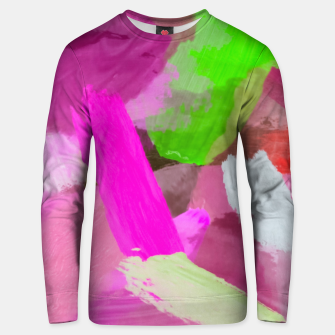 Miniaturka brush painting texture abstract background in pink green Unisex sweater, Live Heroes