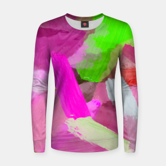 Thumbnail image of brush painting texture abstract background in pink green Women sweater, Live Heroes