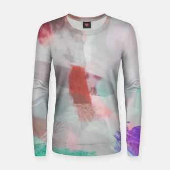 Thumbnail image of brush painting texture abstract background in red pink purple green Women sweater, Live Heroes