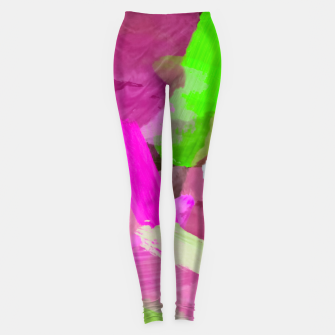 Thumbnail image of brush painting texture abstract background in pink green Leggings, Live Heroes