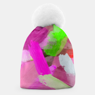 Thumbnail image of brush painting texture abstract background in pink green Beanie, Live Heroes