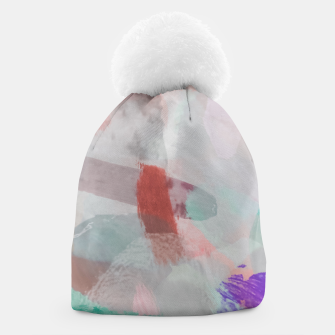 Thumbnail image of brush painting texture abstract background in red pink purple green Beanie, Live Heroes
