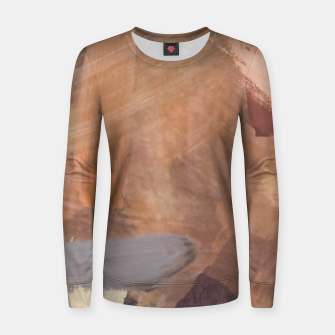 Thumbnail image of brush painting texture abstract background in brown and black Women sweater, Live Heroes