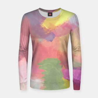 Thumbnail image of brush painting texture abstract background in pink purple yellow Women sweater, Live Heroes