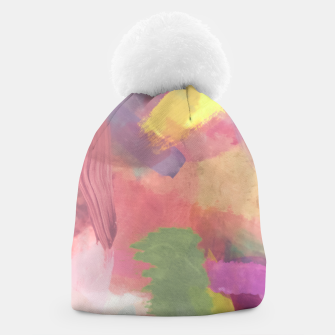 Thumbnail image of brush painting texture abstract background in pink purple yellow Beanie, Live Heroes