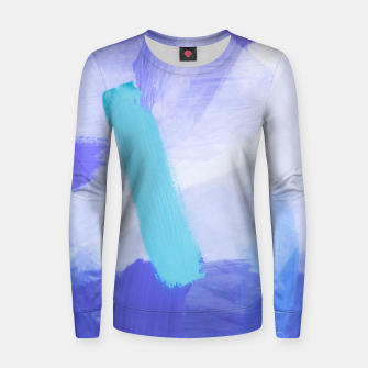 Thumbnail image of brush painting texture abstract background in blue Women sweater, Live Heroes