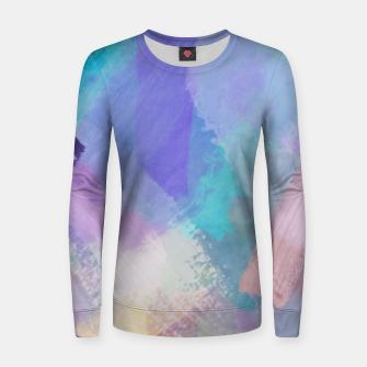 Thumbnail image of brush painting texture abstract background in blue pink purple Women sweater, Live Heroes