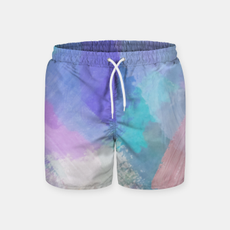 Thumbnail image of brush painting texture abstract background in blue pink purple Swim Shorts, Live Heroes