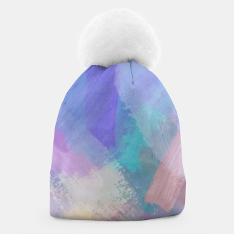 Thumbnail image of brush painting texture abstract background in blue pink purple Beanie, Live Heroes